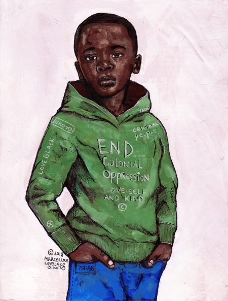 2018 free your mind from colonial oppression (green hoodie) art by marcellous lovelace